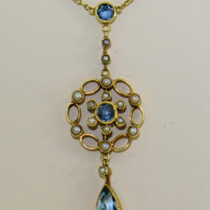 Edwardian 15ct Gold Antique Aquamarine Lavalier Necklace