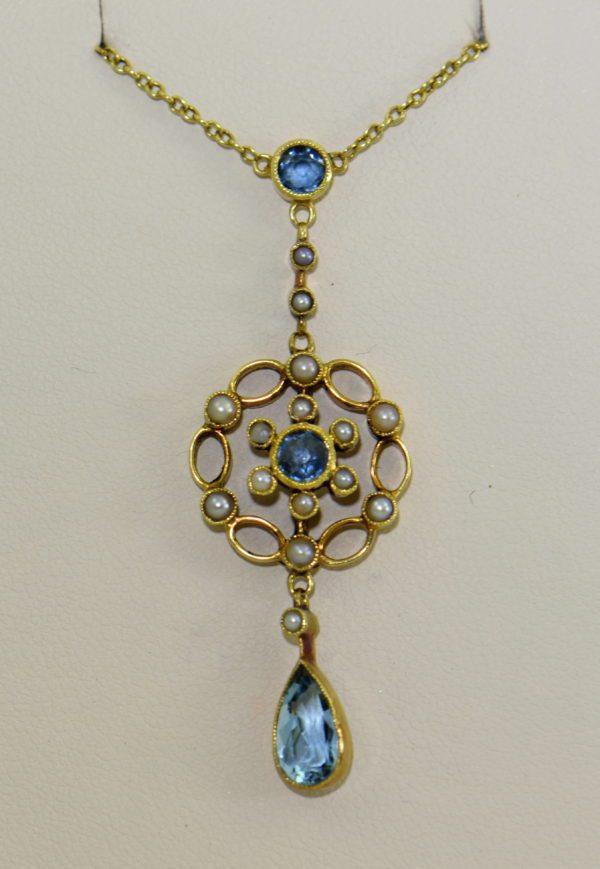 Edwardian 15ct Gold Antique Aquamarine Lavalier Necklace