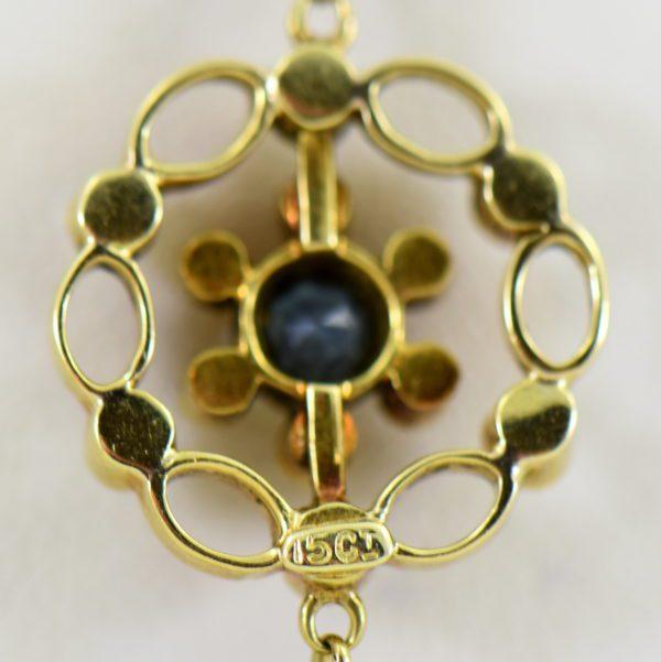 Edwardian 15ct Gold Antique Aquamarine Lavalier Necklace 4