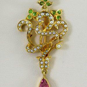 Edwardian Suffragette Pendant Circa 1910 with Demantoid Tourmaline  Pearls 15ct Gold