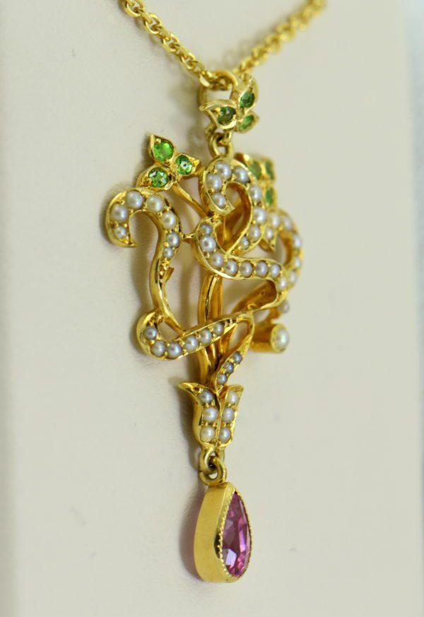 Edwardian Suffragette Pendant Circa 1910 with Demantoid Tourmaline  Pearls 15ct Gold 3