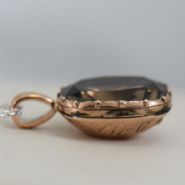 Georgian Foil Backed Smokey Quartz Pendant in Rose Gold circa 1814 2