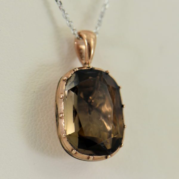 Georgian Foil Backed Smokey Quartz Pendant in Rose Gold circa 1814 3