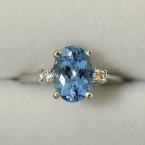 Intense Blue Natural Aquamarine Classic Engagement Ring in White Gold