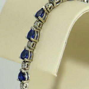 Pear Shape Blue Sapphire and Diamond Tennis Bracelet 2