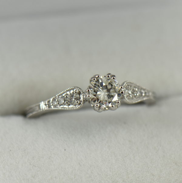 Simple Vintage Style Engagement Ring with .60ct Diamond VS1 J