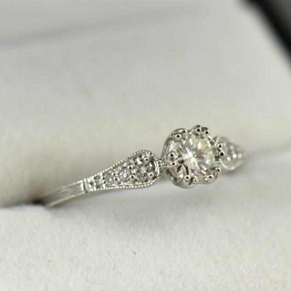 Simple Vintage Style Engagement Ring with .60ct Diamond VS1 J 2