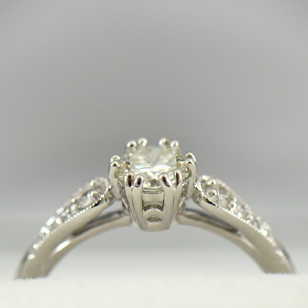 Simple Vintage Style Engagement Ring with .60ct Diamond VS1 J 3