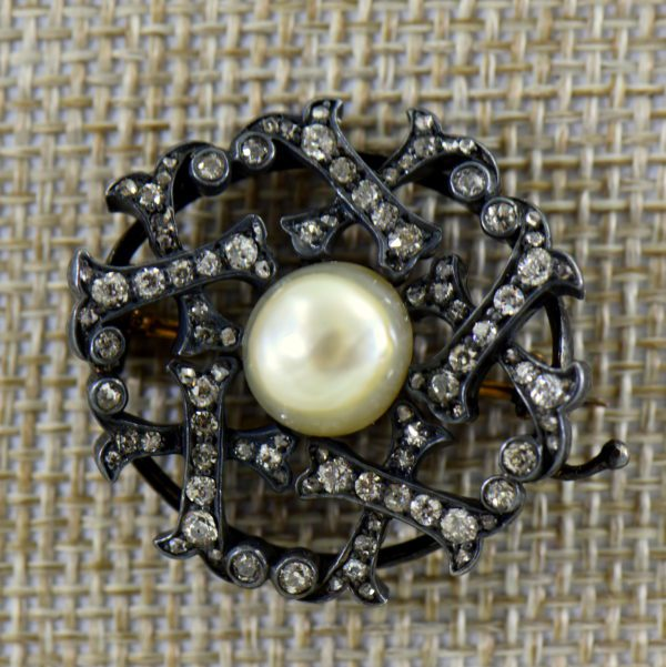 Victorian Pearl  Diamond Brooch in Oxidized silver over gold