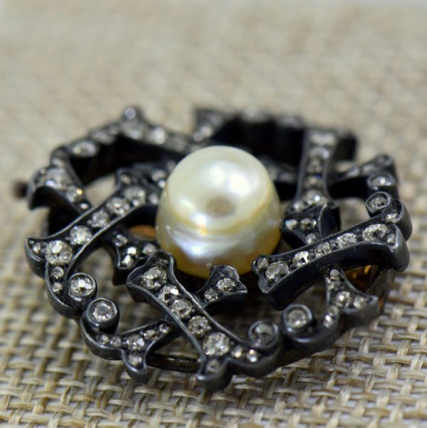 Victorian Pearl  Diamond Brooch in Oxidized silver over gold 2