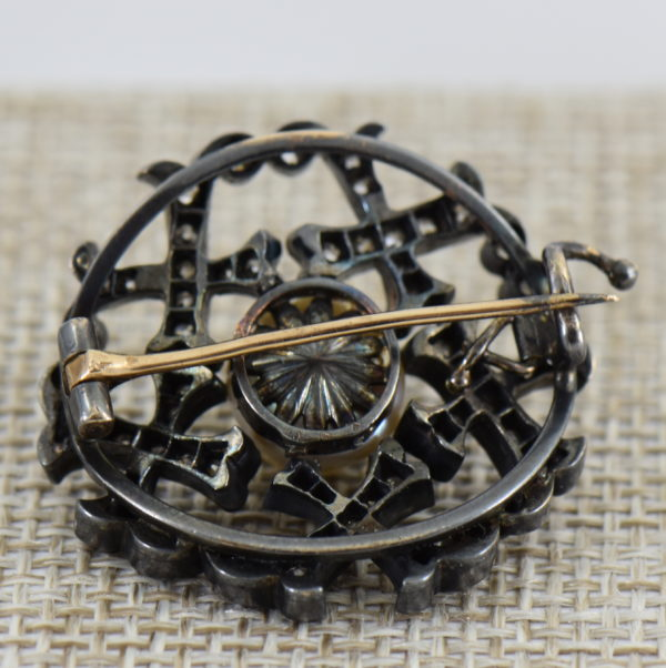 Victorian Pearl  Diamond Brooch in Oxidized silver over gold 4
