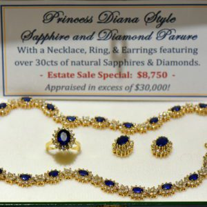 Princess Diana Style Sapphire and Diamond Necklace Set