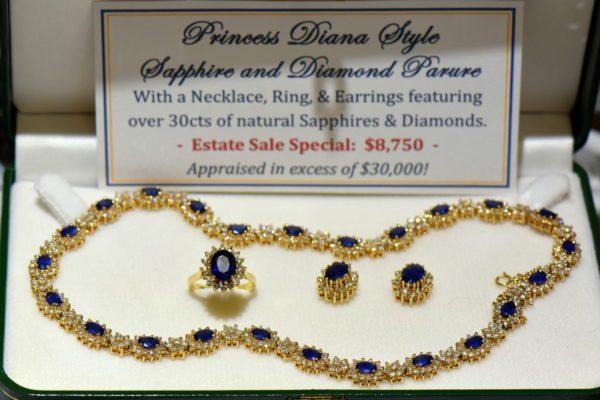 Princess Diana Style Sapphire and Diamond Necklace Set