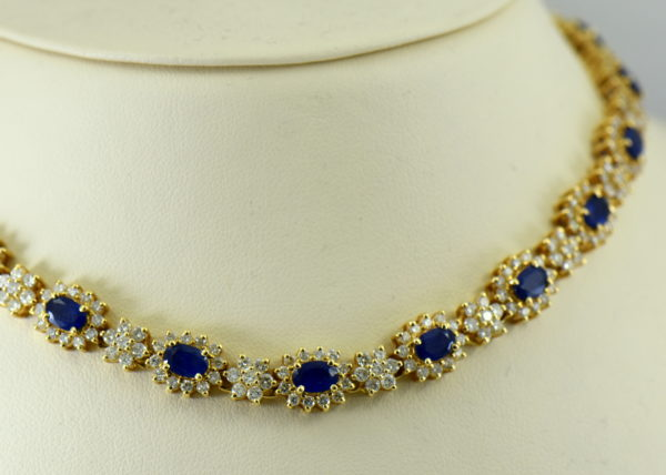 Princess Diana Style Sapphire and Diamond Necklace Set Necklace
