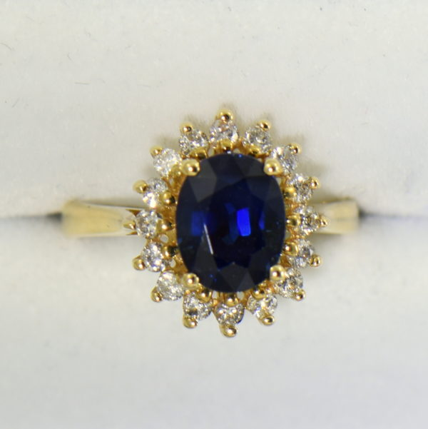 Princess Diana Style Sapphire and Diamond Necklace Set Ring