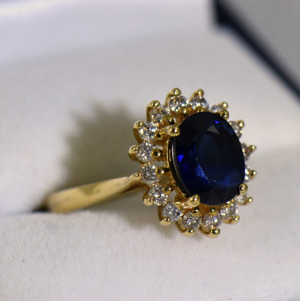 Princess Diana Style Sapphire and Diamond Necklace Set Ring 2