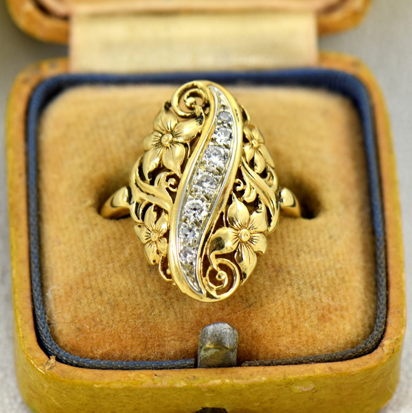 1930s Diamond And Floral Filigree Dinner ring