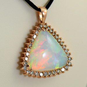 20ct Trillion Ethiopian Opal And Diamond Rose Gold Pendant