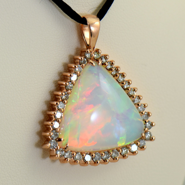 20ct Trillion Ethiopian Opal And Diamond Rose Gold Pendant