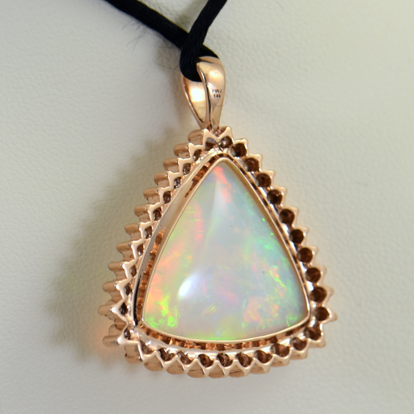 20ct Trillion Ethiopian Opal And Diamond Rose Gold Pendant 2
