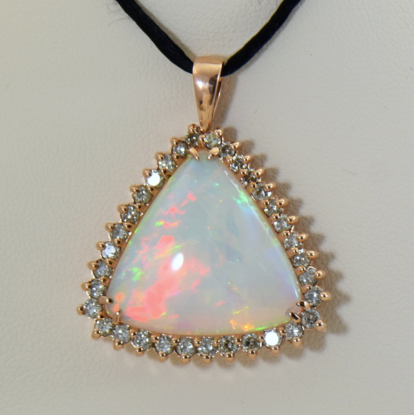 20ct Trillion Ethiopian Opal And Diamond Rose Gold Pendant 3