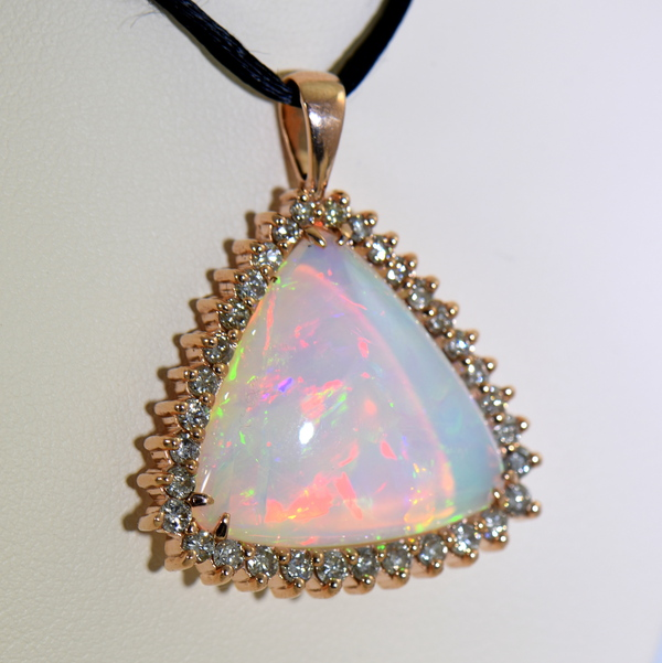 20ct Trillion Ethiopian Opal And Diamond Rose Gold Pendant 4