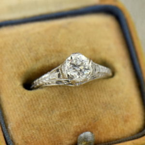75ct European Cut Diamond White Gold Filigree Solitaire Engagement Ring
