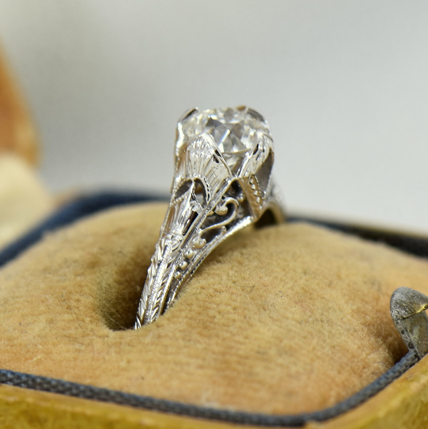 75ct European Cut Diamond White Gold Filigree Solitaire Engagement Ring 3