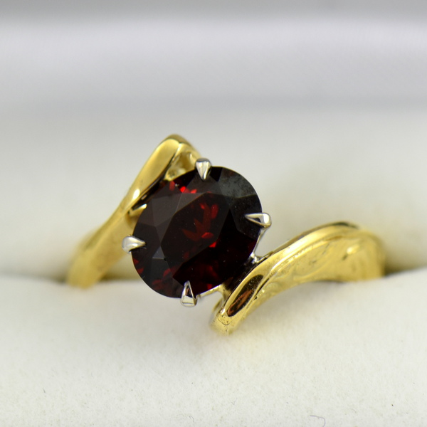 Abstract Red Garnet Carved Yellow Gold Bypass Ring