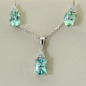 Afghan Seafoam Aqua Colored Tourmaline Pendant  Earring Set 2