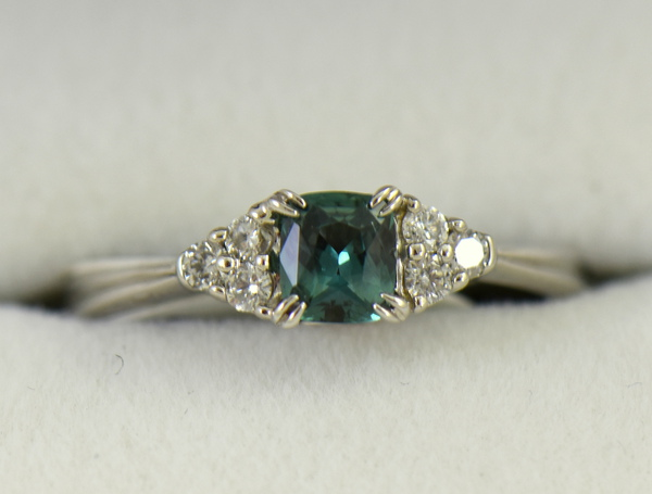 Alexandrite  Diamond Engagement Ring Strong Color Change