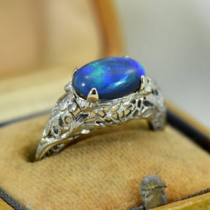 Art Deco Filigree Ring with Lightning Ridge Peacock Color Black Opal