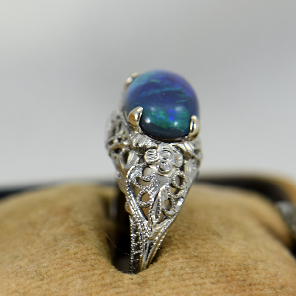 Art Deco Filigree Ring with Lightning Ridge Peacock Color Black Opal 2