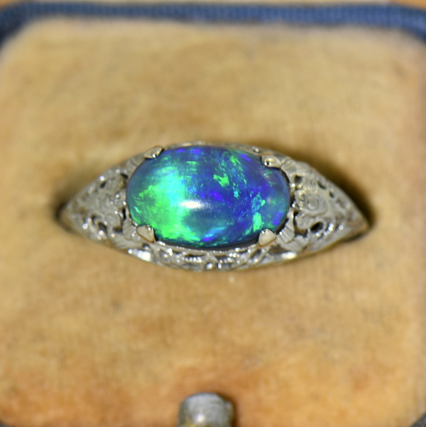 Art Deco Filigree Ring with Lightning Ridge Peacock Color Black Opal 3