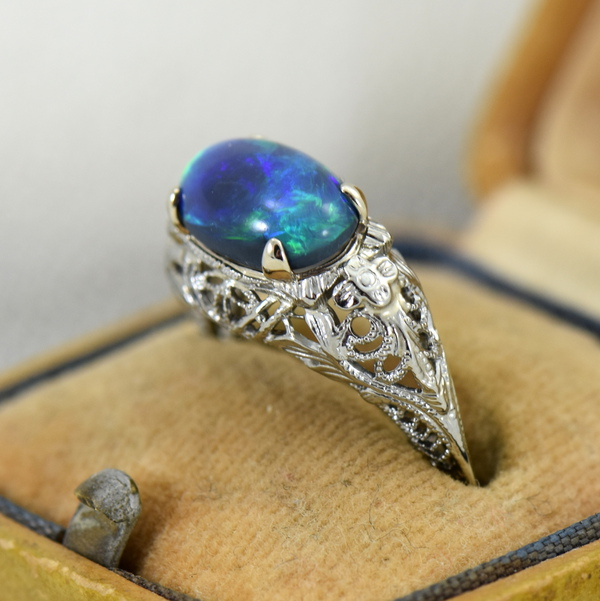 Art Deco Filigree Ring with Lightning Ridge Peacock Color Black Opal 4