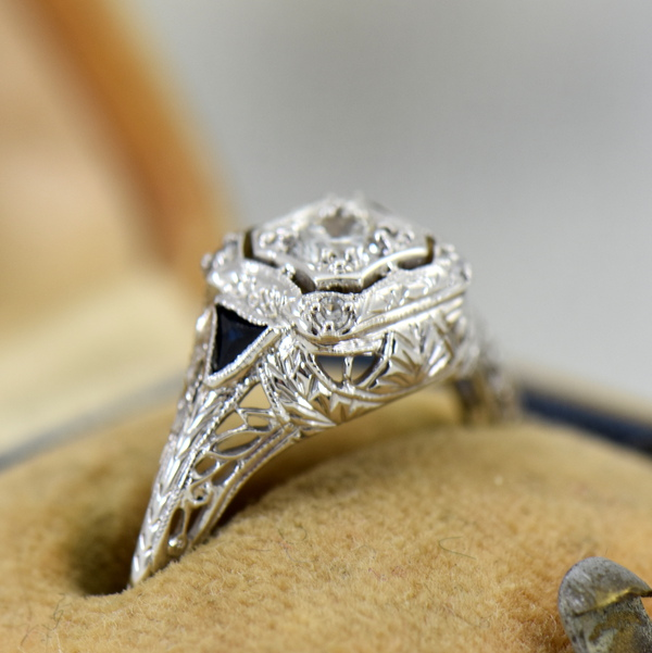 Art Deco White Gold Filigree Engagement Ring with Diamonds and Sapphires 2