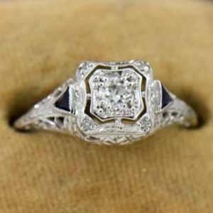 Art Deco White Gold Filigree Engagement Ring with Diamonds and Sapphires 4