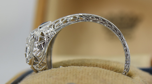 Art Deco White Gold Filigree Engagement Ring with Diamonds and Sapphires 5