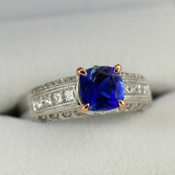 Bicolor Kyanite  Diamond ring in white and rose gold