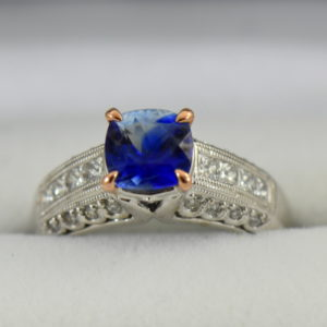 Bicolor Kyanite  Diamond ring in white and rose gold 3