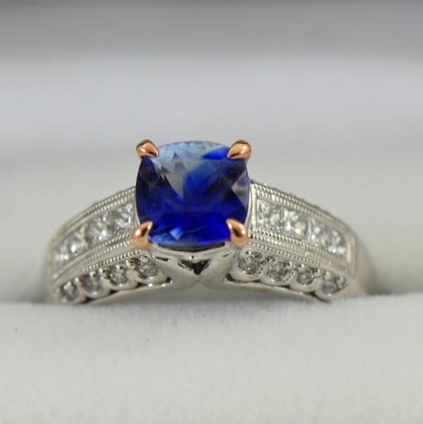 Bicolor Kyanite  Diamond ring in white and rose gold 3