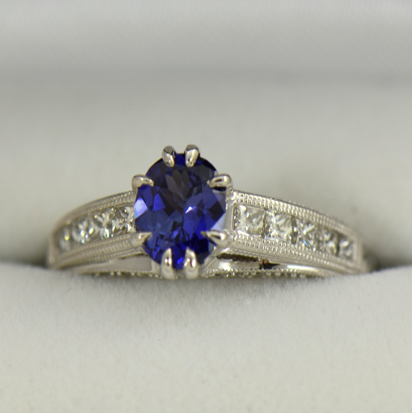 Blue Violet Color Change Sapphire Engagement Ring in White Gold with Channel Set Diamonds