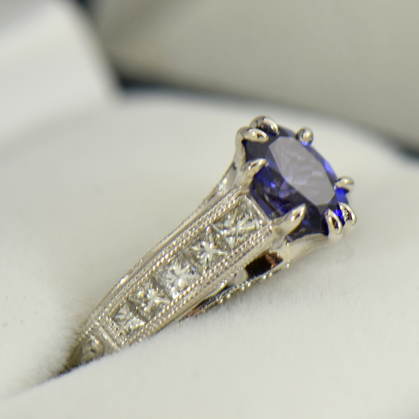 Blue Violet Color Change Sapphire Engagement Ring in White Gold with Channel Set Diamonds 2