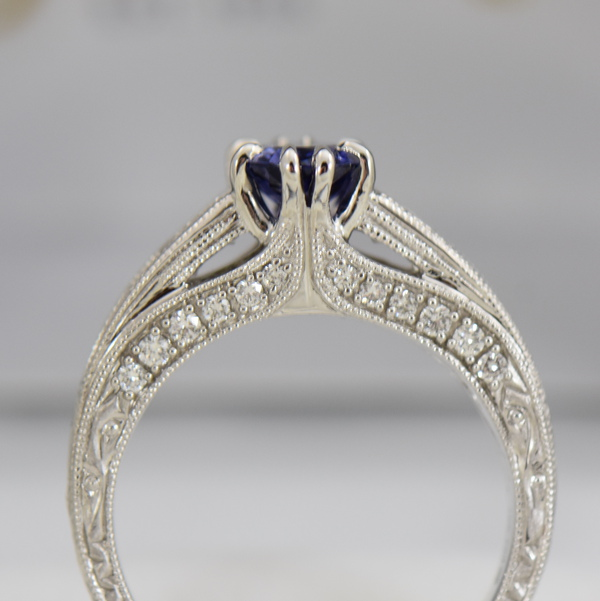 Blue Violet Color Change Sapphire Engagement Ring in White Gold with Channel Set Diamonds 3