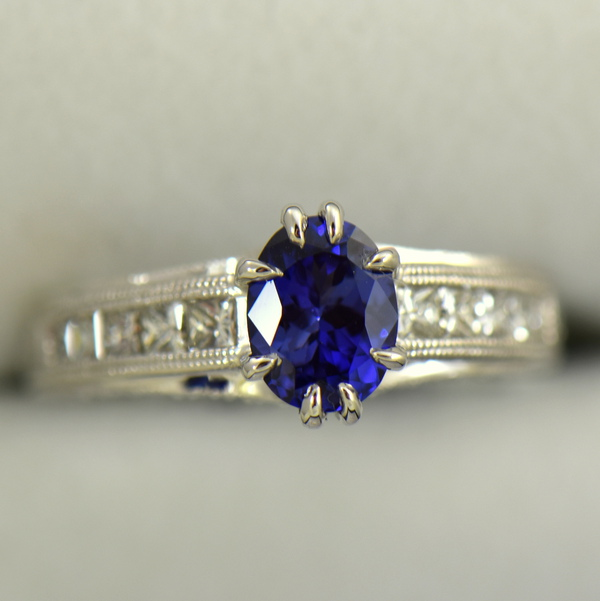 Blue Violet Color Change Sapphire Engagement Ring in White Gold with Channel Set Diamonds 4