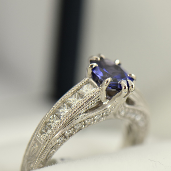 Blue Violet Color Change Sapphire Engagement Ring in White Gold with Channel Set Diamonds 5