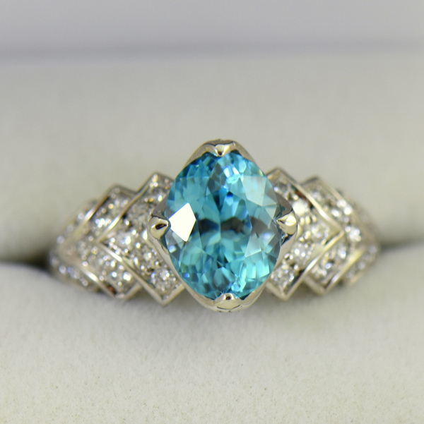 Cambodian Blue Zircon  Diamond Cocktail Ring 18k white gold