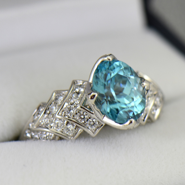 Cambodian Blue Zircon  Diamond Cocktail Ring 18k white gold 2