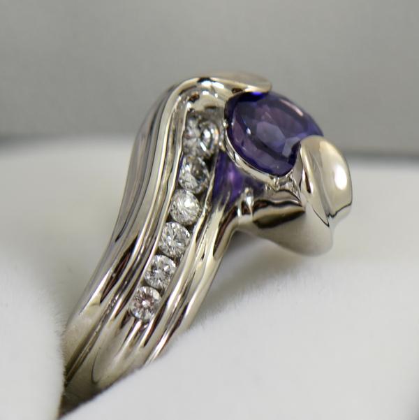 Custom palladium wedding ring with round blue purple color change sapphire 2