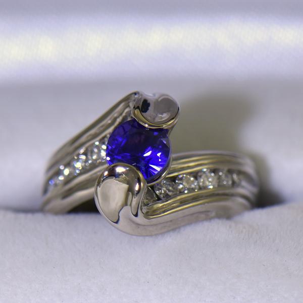 Custom palladium wedding ring with round blue purple color change sapphire 4